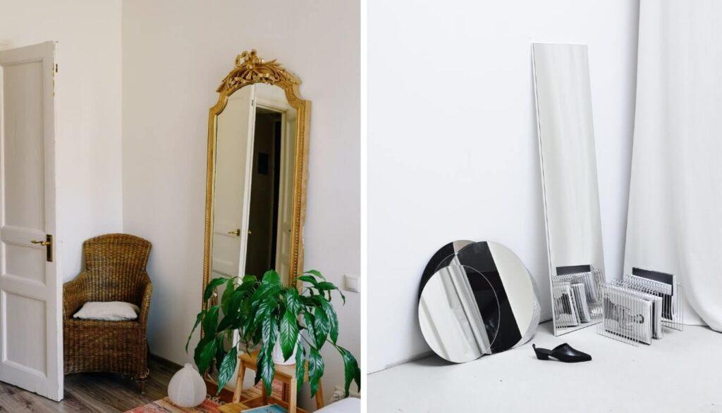 デコラティブな鏡とシンプルな鏡